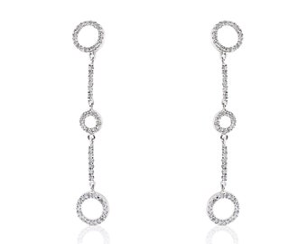 18K Diamond Pave Circles Drop Earrings by Luxinelle