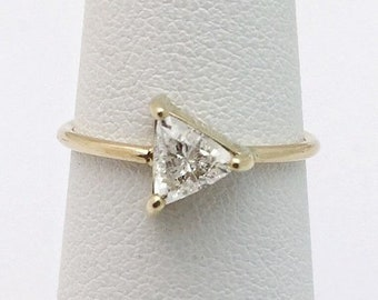 Half Carat Trillion Cut Diamond Ring 14K Yellow Gold Minimalist Arrow Triangle Diamond