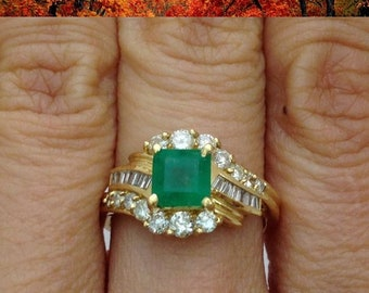 Princess Cut Green Emerald Ring with Round and Baguette Diamonds 14K yellow gold
