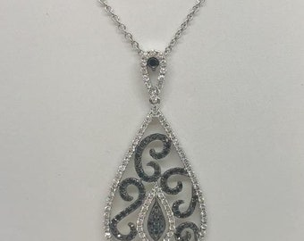 18K Black and White Diamond White Gold Teardrop Shape Pendant 2.14 TCW by Luxinelle