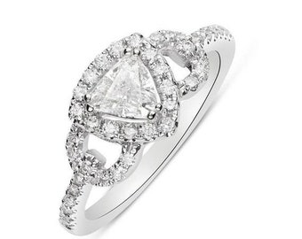 14K White Gold 0.51 Carat Trillion Cut Diamond Halo Engagement Ring - 0.80 TCW