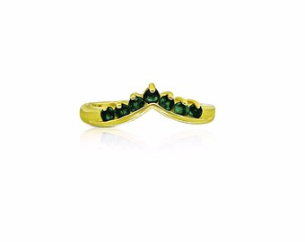 7 Emerald Curved Wedding Band - 14K Yellow Gold by Luxinelle