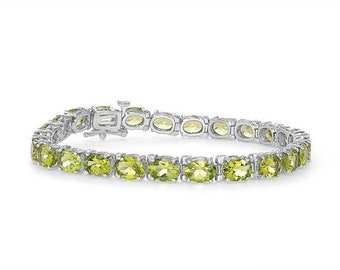 Peridot Bracelet - 19.04 Carats of Oval Cut Green Peridot Stones - 14k White Gold - August Birthstone - Mother's Day - Annive