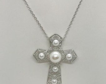 Pearl and Diamond Cross Pendant - 14K White Gold by Luxinelle