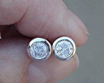 0.50 Carat Diamond Earrings Bezel Solitaire Half Carat
