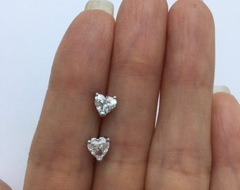 Diamond Heart Stud Earrings - SI1 G 14K White Gold