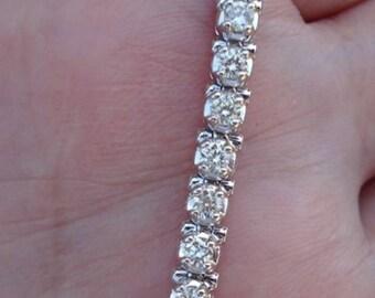2.5 Carat Diamond Tennis Bracelet - 14K White Gold Ladies Woman Classic Natural SI2 J