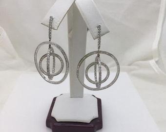 3 Carat Diamond Earrings 18K White Gold Formal Occasion Wedding Statement
