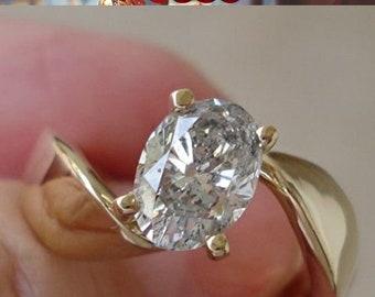 Big 1.24 Carat Oval Diamond Engagement Ring - EGL Certified Diamond 14K Yellow Gold
