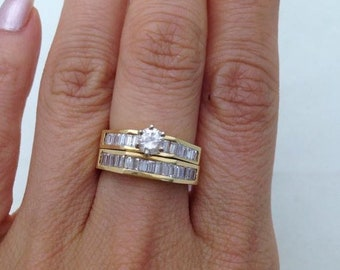 1.45 Carat Baguette Stones Diamond Bridal Set Engagement Ring and Wedding Band 14K Yellow Gold by Luxinelle