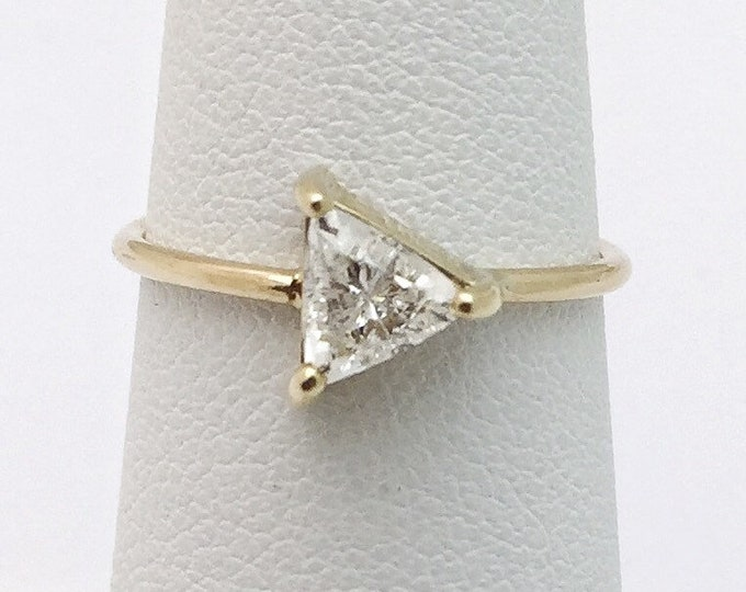 Featured listing image: Half Carat Trillion Cut Diamond Ring 14K Yellow Gold Minimalist Arrow