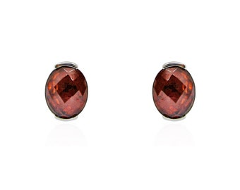 3.59 Carat Red Oval Garnet Checkerboard Stud Earrings in 14K White Gold by Luxinelle