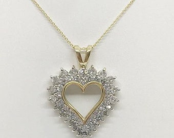 1.82 Carat Double Halo Heart Shaped Diamond Pendant - 14K Yellow Gold by Luxinelle