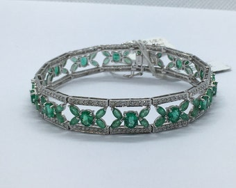 11.43 Carat Emerald and Diamond Statement Formal Bracelet Flowers - 14K White Gold 7 Inches by Luxinelle