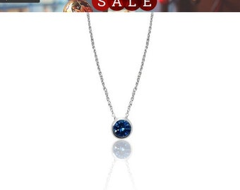 1 Carat Blue Diamond Bezel Pendant in 14K White Gold on 18 Inch Adjustable Chain by Luxinelle