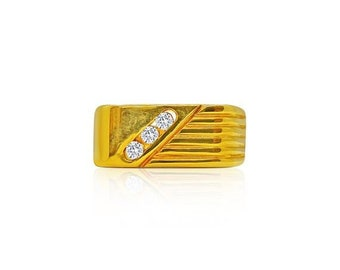 3 Diamond Signet Men's Ring for Gentleman in 14K Yellow Gold by Luxinelle