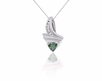 1.69 Carat Green Tourmaline and Diamond 14K White Gold Twist Pendant on a Chain by Luxinelle