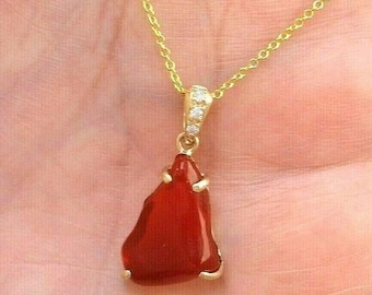Handmade Fire Opal with Diamond Accents 14K Yellow Gold Pendant Necklace