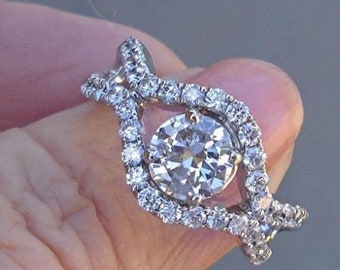 Natural Diamond Engagement Ring 14K White Gold 1.87 TCW VS1 E by Luxinelle