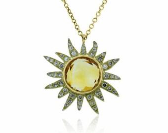 Preowned Miera T Citrine & Diamond Sun Necklace 14K Yellow Gold 16 inch Chain