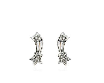 0.26 cttw Diamond Shooting Star Earrings 10K White Gold by Luxinelle