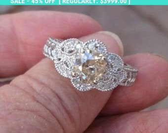 Peachy Pink Diamond Engagement Ring 14K White Gold