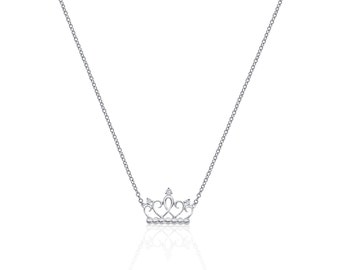 Princess Crown 18K White Gold Diamond Necklace 0.04TCW SI/G by Luxinelle