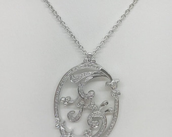 Oval Floral Diamond Pendant - 0.49 Carat 14K White Gold by Luxinelle