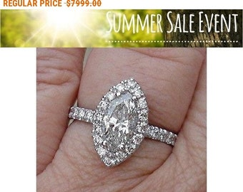 1.60 Carat Certified Marquise Diamond Halo Engagement Ring - 14K White Gold