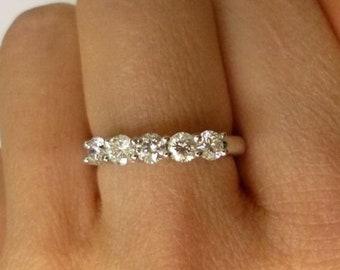 Amazing 5 Diamond Band - 14k White Gold Diamond Ring - 5 Year Anniversary Wedding Band