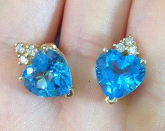 8.42 Carat Blue Topaz Heart Stud Earrings - 14K Yellow Gold