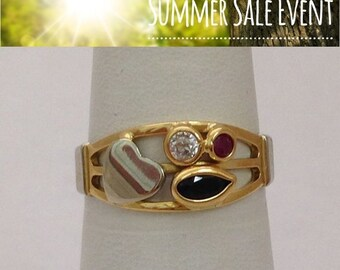 2 Tone 18K Gold Blue and Pink Sapphire with Diamond Ring Size 7 Multicolor