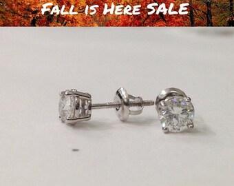 1 Carat Diamond Stud Earrings - Screwback 4 Prong 18K
