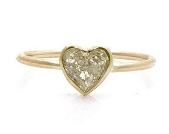 0.50 Carat Simple Bezel Heart Shaped Diamond Ring - 14K Yellow Gold by Luxinelle
