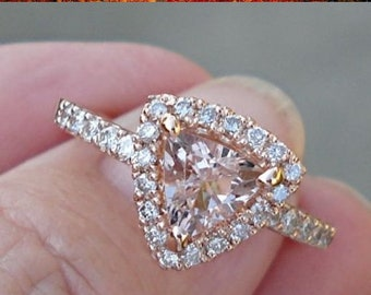 Trillion Cut Morganite Rose Gold Diamond Halo Ring - 14K Pink Gold Ring with Triangle  Shaped Stone