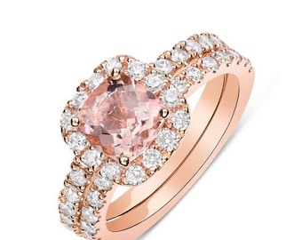 Rose Gold Morganite Wedding Ring Bridal Set Cushion Cut Diamond Halo with Matching Band