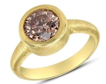 1.6 Carat Golden Pink Diamond 18K Bezel Ring - Matte Yellow Gold Finish Handmade