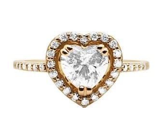 Rose Gold Heart Shaped Diamond Halo Engagement Ring 0.79 Carat