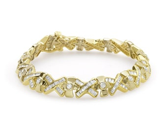 4.91 Carat Yellow Gold Diamond Bracelet - 14K Formal Occasion Statememt Tennis Bracelet by Luxinelle