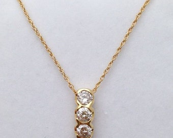 3 Diamond Drop Pendant Necklace - Past Present Future 14K Yellow Gold 0.83 Carat SI Clarity