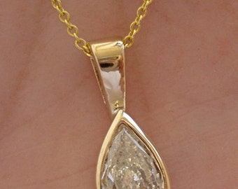 1.01 Carat Pear Cut Certified Diamond in Handmade Gold Bezel - 14K White, Yellow or Rose Gold SI3 Clarity D Color
