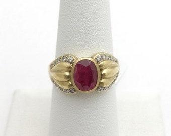 Bezel Set Ruby Ring with Diamonds - 18K Yellow Gold