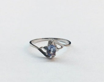 Light Purple Tanzanite and Diamond Ring - 10K White Gold by Luxinelle