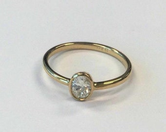 Minimalist Oval Diamond Ring - Handmade Bezel Yellow Gold Rose Gold or White Gold Stacking Dainty Promise, Engagement Ring 0.30 Carat,
