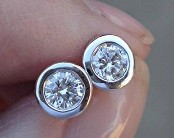 14K White Gold, Rose Gold, Yellow Gold Half Carat Bezel Diamond Stud Earrings - 0.50 TCW