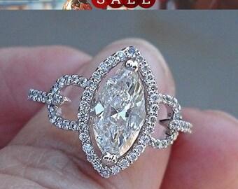 1.10 Carat Marquise Diamond Halo Engagement Ring - EYE clean SI1 I Wedding 14k White, Rose or Yellow Gold EGL Certified Diamond