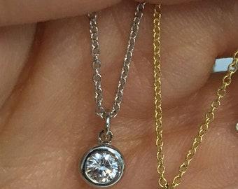 Dainty Minimalist Bezel Set Diamond on a Chain VS2 F Dangling Free Slide Pendant 14K Italian Gold Chain