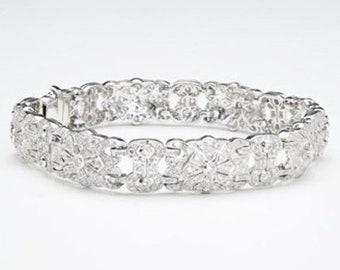 18K Pave Diamond Bracelet - 1.97 Carat Floral Statement White Gold for Formal Occasion