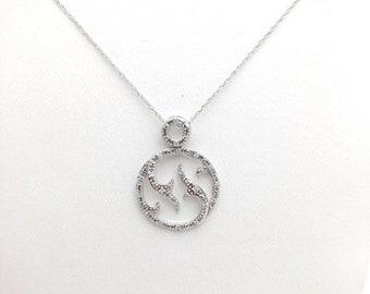 0.10 Carat Pave Diamond Circle Pendant with Chain 10K - Twisted Vine Design White Gold