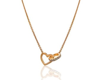 Rose Gold Interlocking Heart and Diamond Circle on a Chain Necklace - 18K